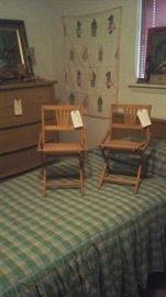 Cute chairs, beautiful  vintage  twin bedspreads