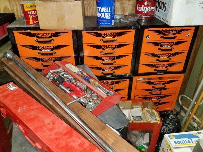 Tons of tools. Vintage auto tools. tool cabinets. Steel Dorman drawer units