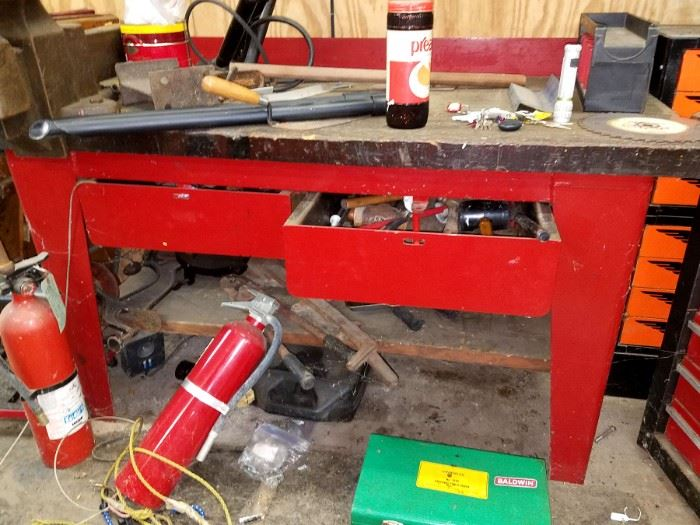 Red steel tool workbench
