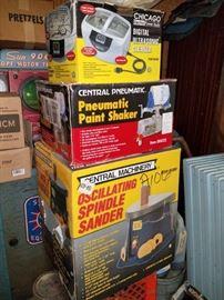 Paint shaker, oscillating spindle sander, ultrasonic cleaner