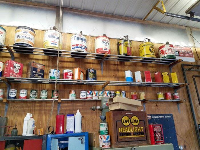 A plethora of vintage oil cans