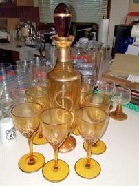 Vintage amber glass decanter set