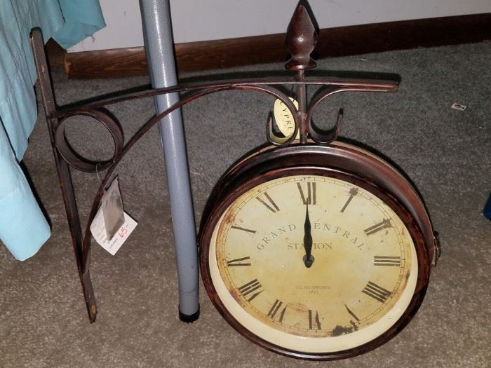 Station style hanging wall clock