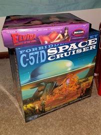 Forbidden Planet C-57D space cruiser model kit. Moebius Elvira model kit