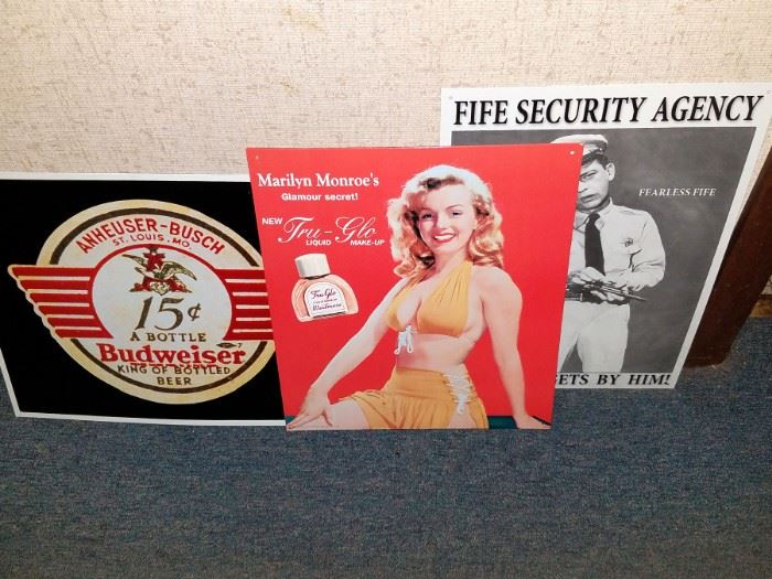 Tin advertising signage. Anheuser-Busch, Marilyn and more