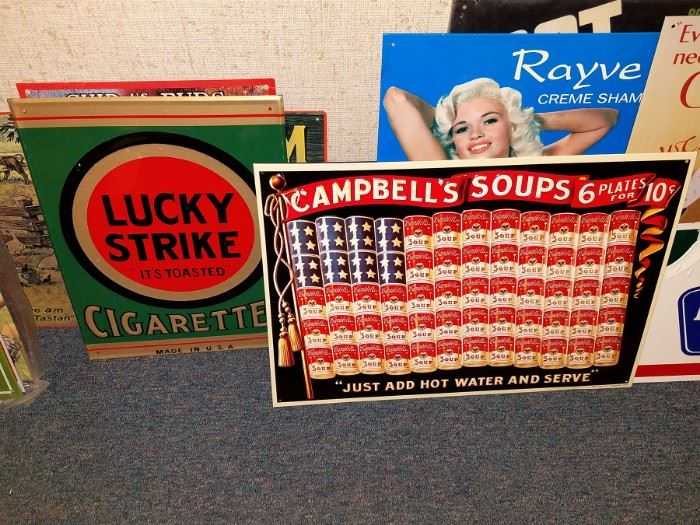 Tin advertising signage. Lucky strike, campbells soups