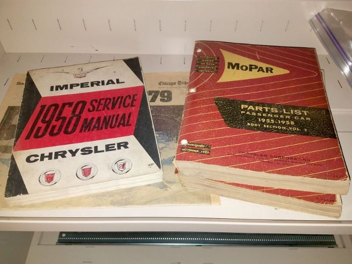 Vintage auto manuals, catalogs