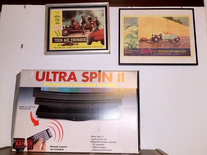TV turntable, Vintage Teen Age Thunder and Ghost of Dragstrip Hollow lobby cards