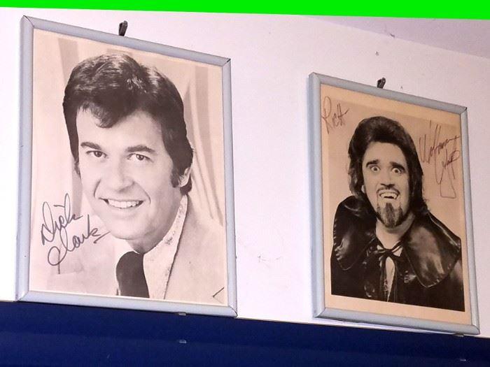 Autographed Dick Clark and Wolfman Jack photos