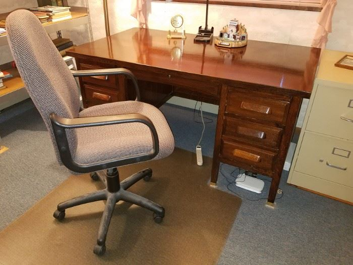Wooden desk and office chair
