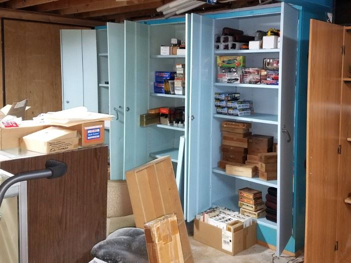 Blue metal cabinets
