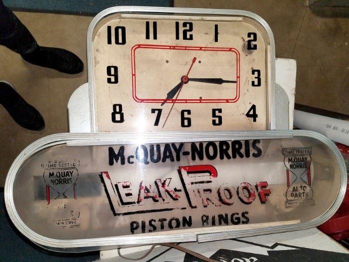 Vintage McQuay-Norris piston rings store signage/clock