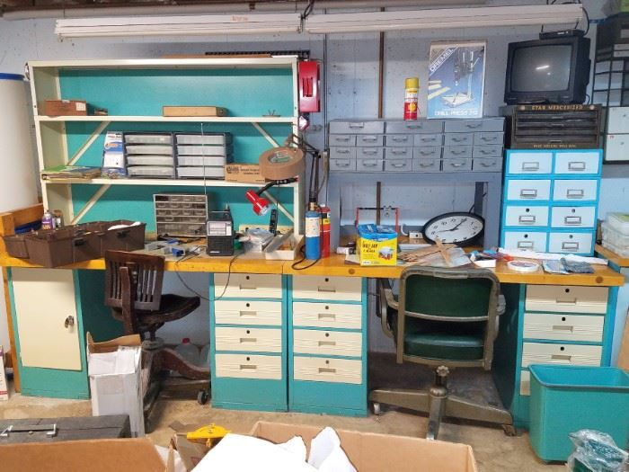 Blue metal shelving and cabinets