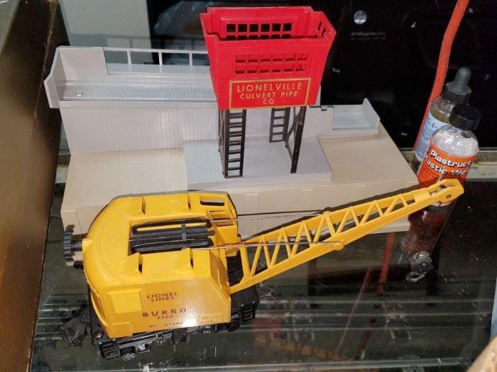 Lionel train pipe loader. Burro crane