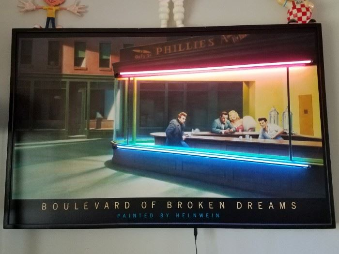 Framed art with real working neon lights