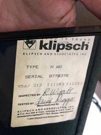 A pair of Klipsch HWO speakers!