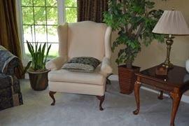 Accent Chair with Decorative Pillow & Artificial Plants