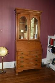 Secretary Desk with Display Cabinet, Globe