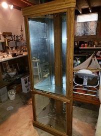 Corner curio cabinet.