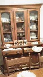 Vintage white Cedar  china cabinet