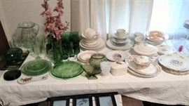 depression glass, sets of china, cake plates,  pitcher and glasses and so much more...