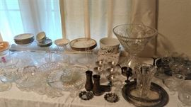 clear glass serving pieces, silver pieces, punch bowl and some much more...