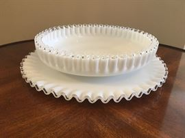 Fenton Silver Crest round platter with matching bowl