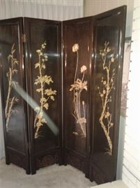 Black Lacquer Room Divider with mother of pearl inlay