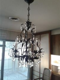 Black iron with crystal Prism Chandelier