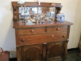 oak buffet & silver plate items