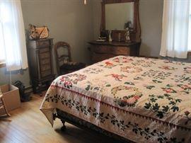 bed, oak dresser & jewelry armoire