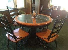 Wood and ceramic top table & 4 Chairs