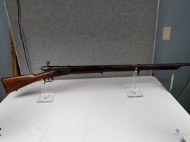Vetterli / Fair to good condition, vintage rifle. Missing rear sight. Solid stock with signs of cracks and wear. Vetterli stock Cartouche present on right side of the stock. , FFL #243
