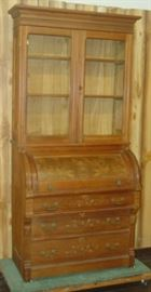 Victorian Cylinder Roll Secretary/Bookcase