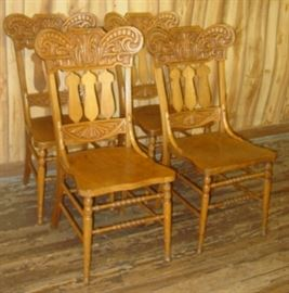 Set of 4 Pressed Back Dining Chairs