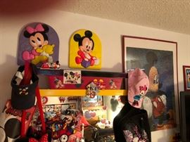 Assortment of Mickey/Minnie Mouse along with dresser for sale