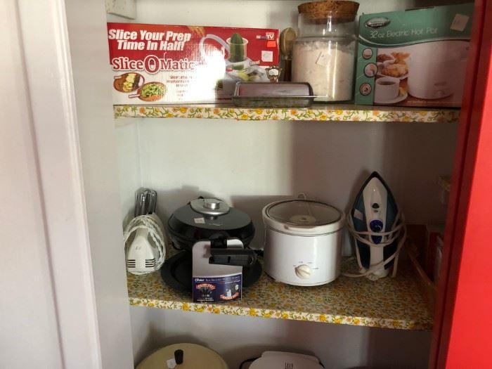 Iron, crock pot, New Slice O Matic, mixer, Waffle Iron