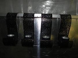 4 decorative metal candle holders