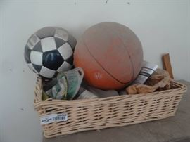Basket w basket ball, soccer ball misc.