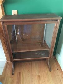 Old glass front book case