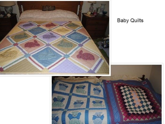 Handmade baby quilts - bunny, dog and cat and squares with hearts