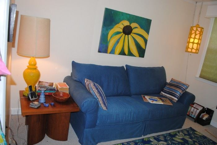 Mid Century lighting, large oil on canvas picture, Haverty denim sofa and mid century table