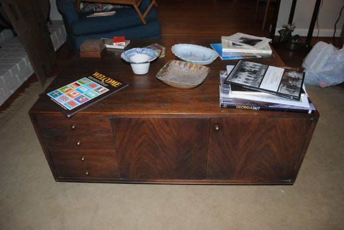 Coffee table - drawers and cabinet on one side and shelves on other side  - Large stunning piece!