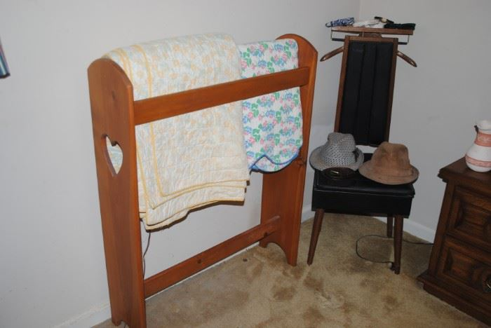 Quilt holder, vintage quilts and silent butler