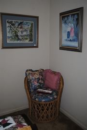 Wicker chair, Oil on canvas and Judy Bynum print