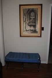 Cathedral print and bench