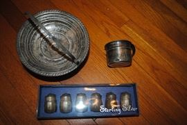 Sterling basket, baby cup and shakers