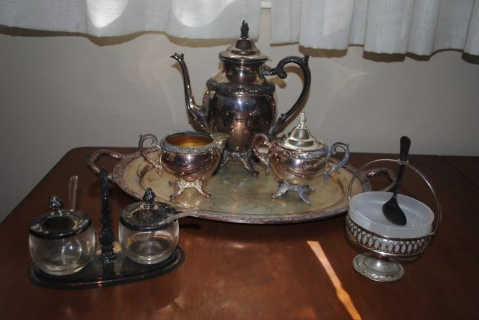 """Silverplate - Rogers & Bros """"Exquisite"""" 4 pc tea set, condiment set and nut bowl"""