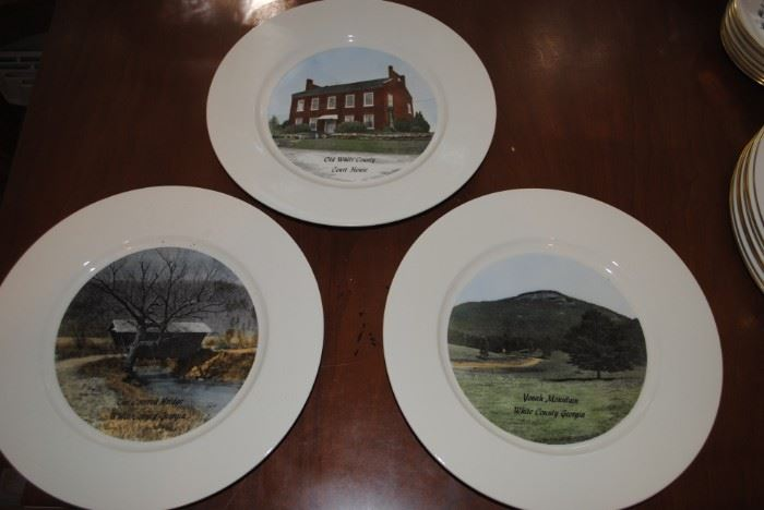 Commemorative plates - White County Courthouse, Mt Yonah and the Covered Bridge