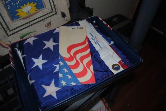 Flag still in box